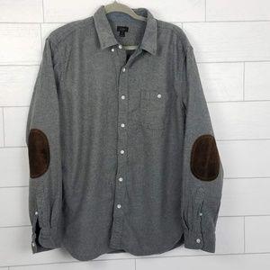 J. Crew Men's XL Gray Wool Blend Elbow Patch Shirt